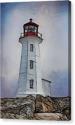 Peggys Cove Lighthouse Drawing Canvas Print