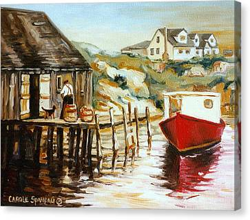 Bluenose Canvas Print - Peggy's Cove Nova Scotia Fishing Village With Red Boat by Carole Spandau