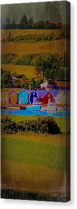 Pei Canada Landscape Photograph Boats At Harbour Canvas Print