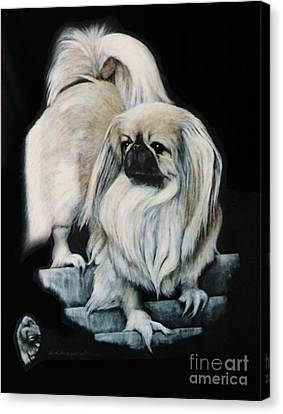 Canvas Print featuring the painting Pekingnese by DiDi Higginbotham