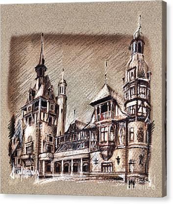 Peles Castle Romania Drawing Canvas Print