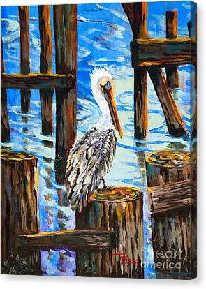 Pelican And Pilings Canvas Print by Dianne Parks