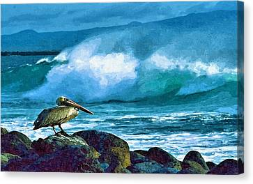 Pelican And Surf Canvas Print by John Samsen