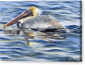 Canvas Print featuring the painting Pelican At Cedar Point by Phyllis Beiser