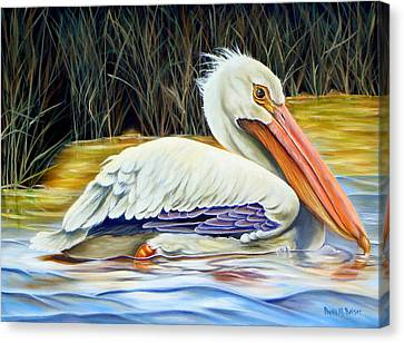 Canvas Print featuring the painting Pelican At East Pearl by Phyllis Beiser