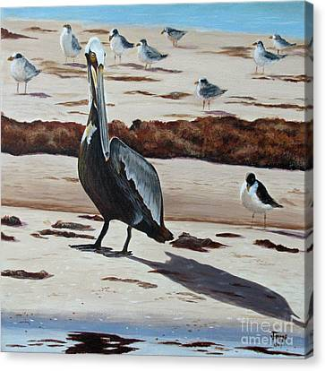 Canvas Print featuring the painting Pelican Beach by Jimmie Bartlett