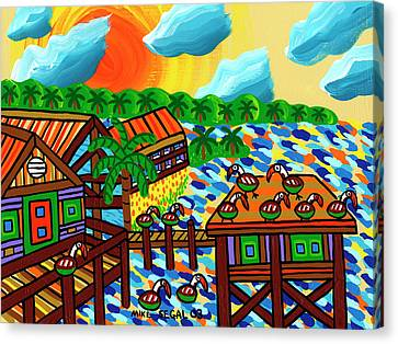 Pelican Convention Cedar Key Canvas Print by Mike Segal