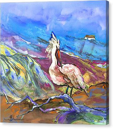 Pelican From The Dombes In France 02 Canvas Print by Miki De Goodaboom