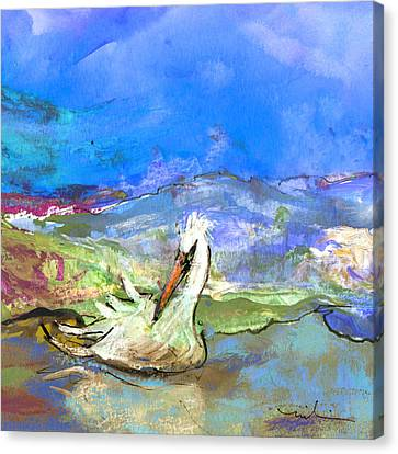 Pelican From The Dombes In France 01 Canvas Print by Miki De Goodaboom