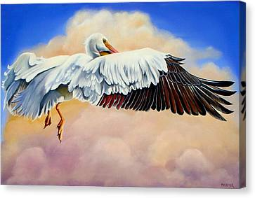 Canvas Print featuring the painting Pelican In The Clouds by Phyllis Beiser