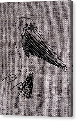 Pelican On Burlap Canvas Print by Konni Jensen