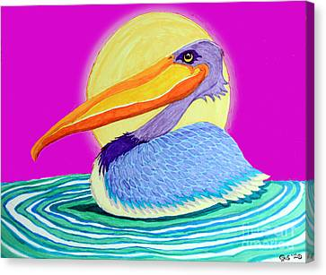 Pelican On The Water 2 Canvas Print by Nick Gustafson