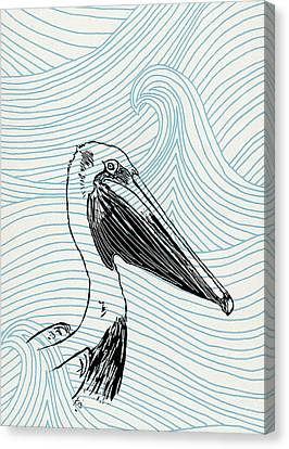 Pelican On Waves Canvas Print by Konni Jensen