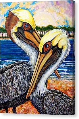 Seabird Canvas Print - Pelican Pair by Sherry Dole
