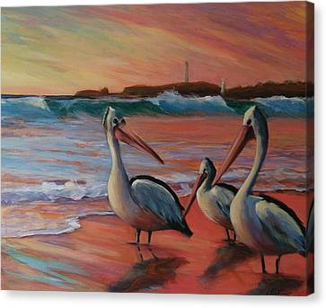 Pelican Sunset Canvas Print by Kathy  Karas