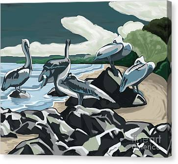 Canvas Print featuring the painting Pelicans And Friends At Seashore by Tim Gilliland
