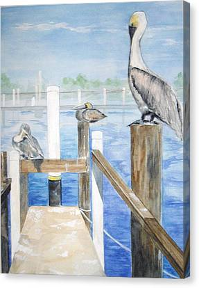 Canvas Print featuring the painting Pelicans by Ellen Canfield