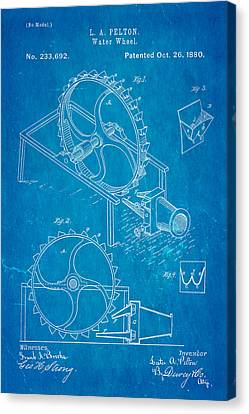 Pelton Water Wheel Patent Art 1880 Blueprint Canvas Print