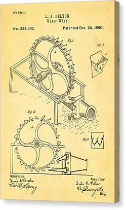 Pelton Water Wheel Patent Art 1880 Canvas Print