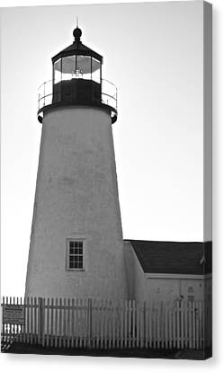 Canvas Print featuring the photograph Pemaquid Lighthouse Black And White by Amazing Jules