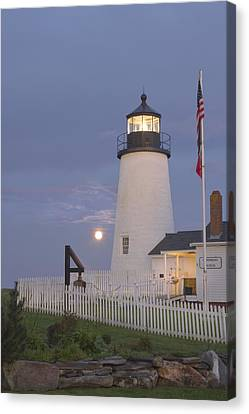 Pemaquid Point Lighthouse And Moon Maine Coast Canvas Print by Keith Webber Jr