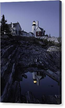 Pemaquid Point Lighthouse At Night In Maine Canvas Print by Keith Webber Jr