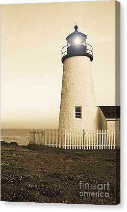 New England Lighthouse Canvas Print - Pemaquid Point Lighthouse by Diane Diederich