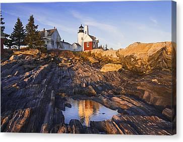 Rocky Maine Coast Canvas Print - Pemaquid Point Lighthouse Reflection On The Coast Of Maine  by Keith Webber Jr