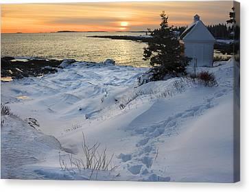 Pemaquid Point Winter Sunset On The Maine Coast Canvas Print