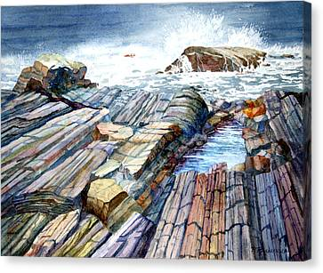 Canvas Print featuring the painting Pemaquid Rocks by Roger Rockefeller