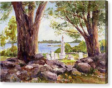 Headstones Canvas Print - Pemaquid Sentinels by Leslie Fehling