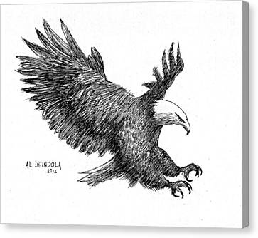 Pen And Ink Bald Eagle Canvas Print