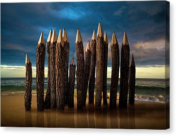 Pencil Beach Canvas Print by D.a.wagner