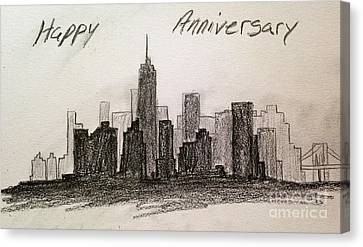 Pencil In New York Skyline Canvas Print by Martha Seale