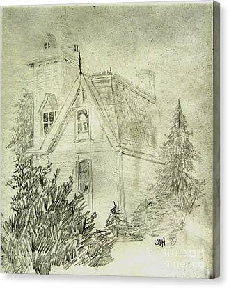 Pencil Sketch Of Old House Canvas Print by Joseph Hawkins