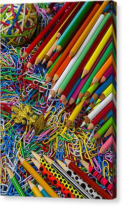 Pencils And Paperclips Canvas Print