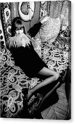 Ostrich Canvas Print - Penelope Tree Sitting On A Paisley Couch by Arnaud de Rosnay