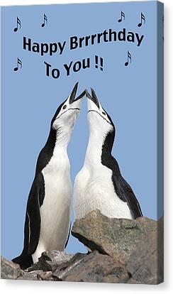 Penguin Birthday Card Canvas Print
