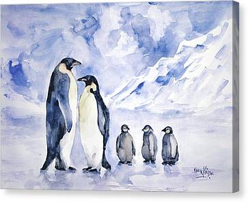 Canvas Print featuring the painting Penguin Family by Faruk Koksal
