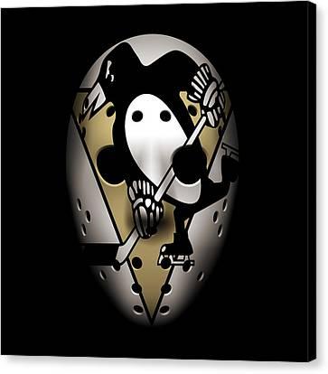 Skating Canvas Print - Penguins Goalie Mask by Joe Hamilton