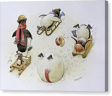 Penguins Sledging Canvas Print by Kestutis Kasparavicius