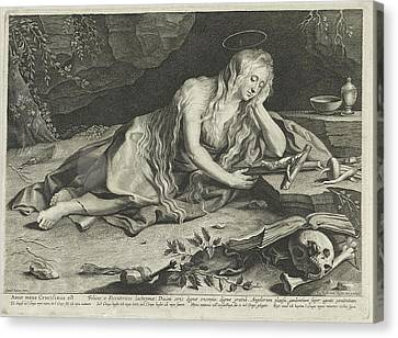 St Mary Magdalene Canvas Print - Penitent Mary Magdalene In A Cave, Lucas Vorsterman by Lucas Vorsterman (i)