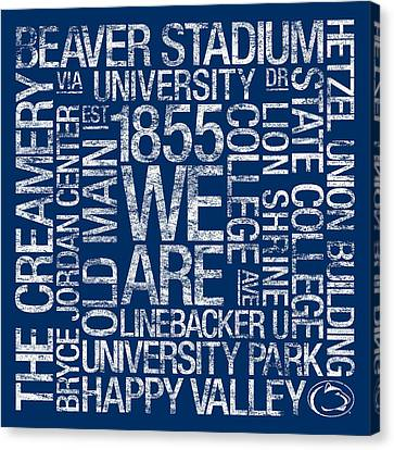 Penn State College Colors Subway Art Canvas Print