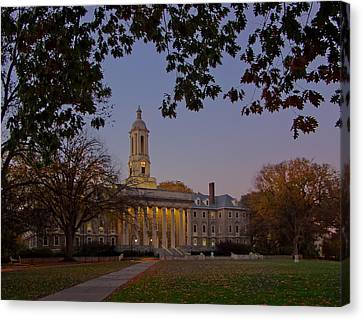 Penn State Old Main At Dusk Canvas Print by William Ames