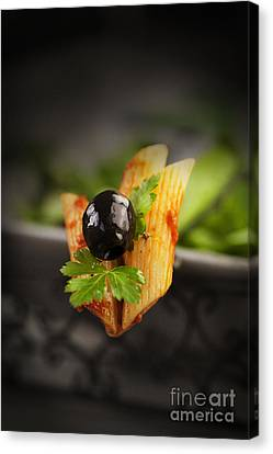 Penne With Olives Canvas Print by Mythja  Photography