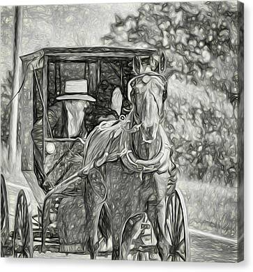 Pennsylvania Amish 2 -  Bw Canvas Print by Steve Harrington