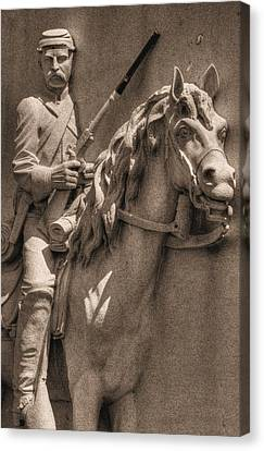 Pennsylvania At Gettysburg - 17th Pa Cavalry Regiment - First Day Of Battle Canvas Print by Michael Mazaika