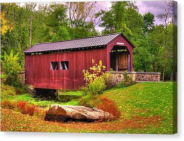 Pennsylvania Country Roads - Everhart Covered Bridge At Fort Hunter - Harrisburg Dauphin County Canvas Print
