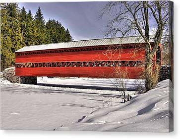 Pennsylvania Country Roads - Sachs Covered Bridge Over Marsh Creek B1 - Adams County Winter Canvas Print