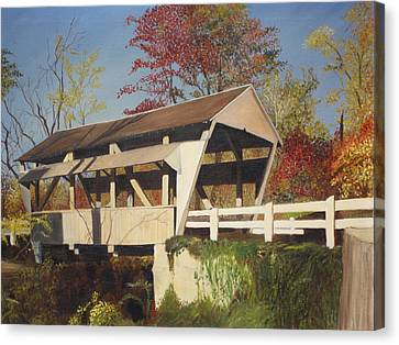 Pennsylvania Covered Bridge Canvas Print by Barbara McDevitt